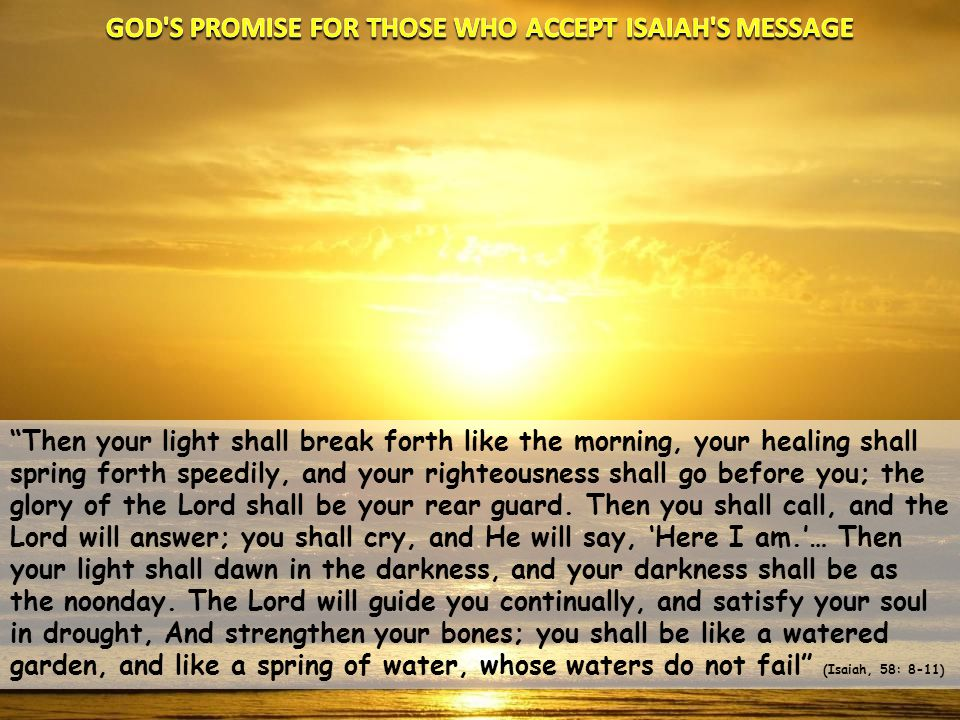 GOD S PROMISE FOR THOSE WHO ACCEPT ISAIAH S MESSAGE