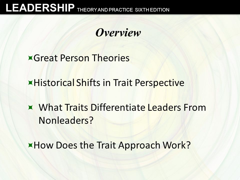 Overview Great Person Theories Historical Shifts in Trait Perspective