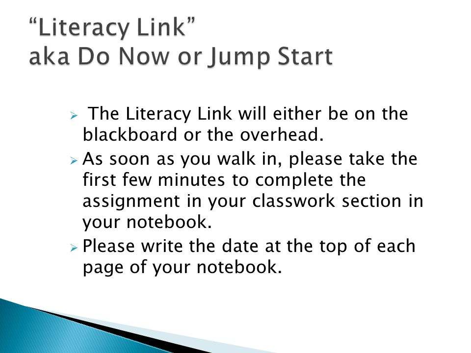 Literacy Link aka Do Now or Jump Start