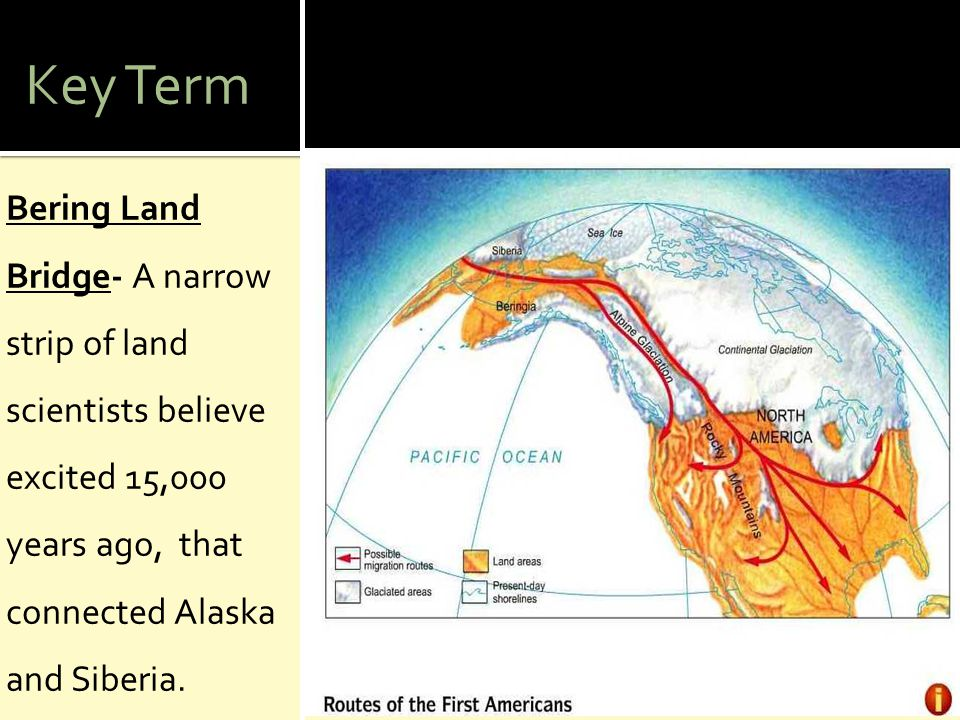 Key Term Bering Land Bridge- A narrow strip of land scientists believe excited 15,000 years ago, that connected Alaska and Siberia.