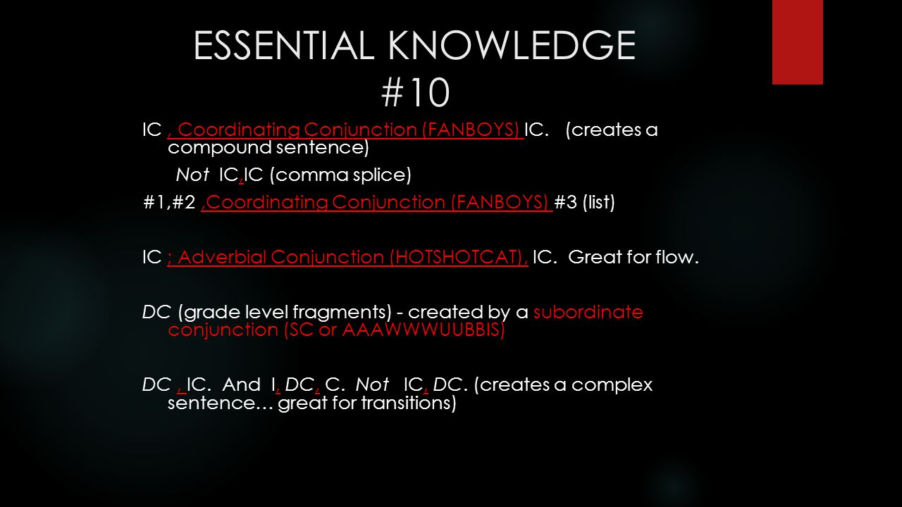 ESSENTIAL KNOWLEDGE #10