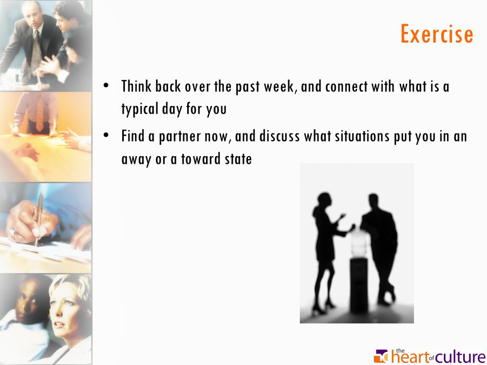 Exercise Think back over the past week, and connect with what is a typical day for you.