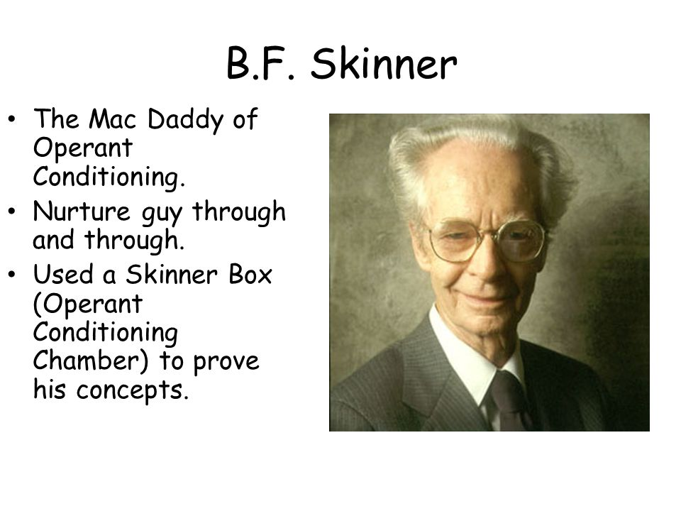 B.F. Skinner The Mac Daddy of Operant Conditioning.