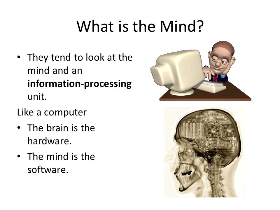 What is the Mind They tend to look at the mind and an information-processing unit. Like a computer.