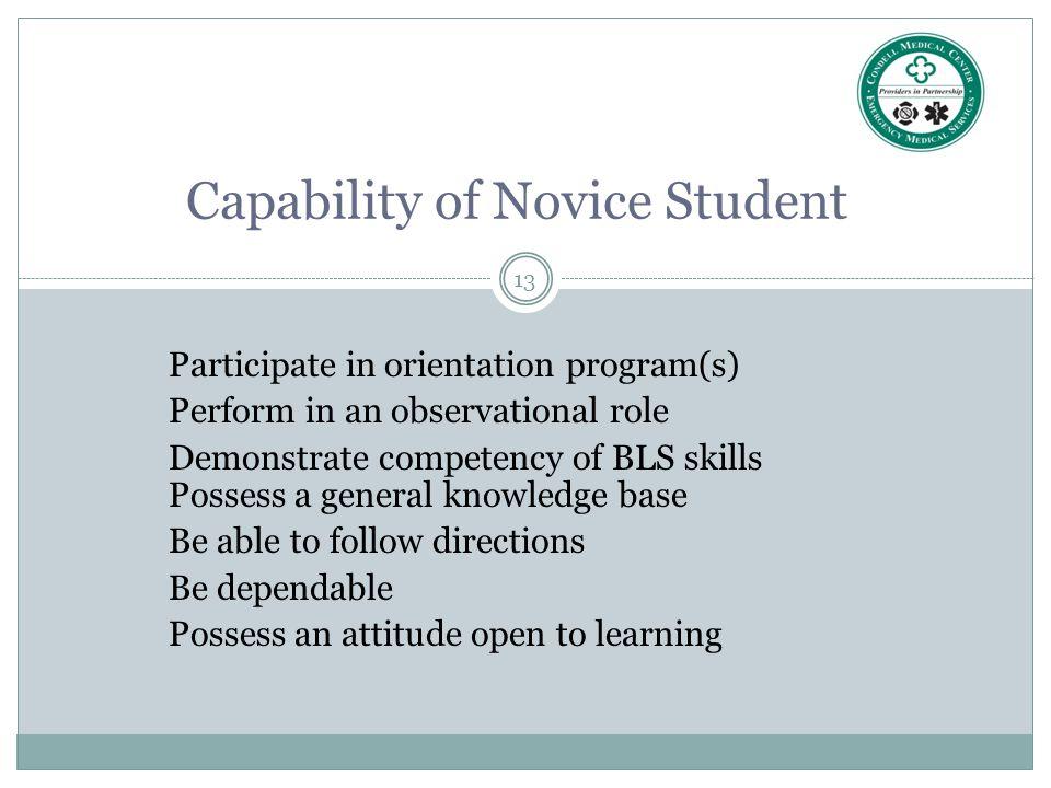 Capability of Novice Student