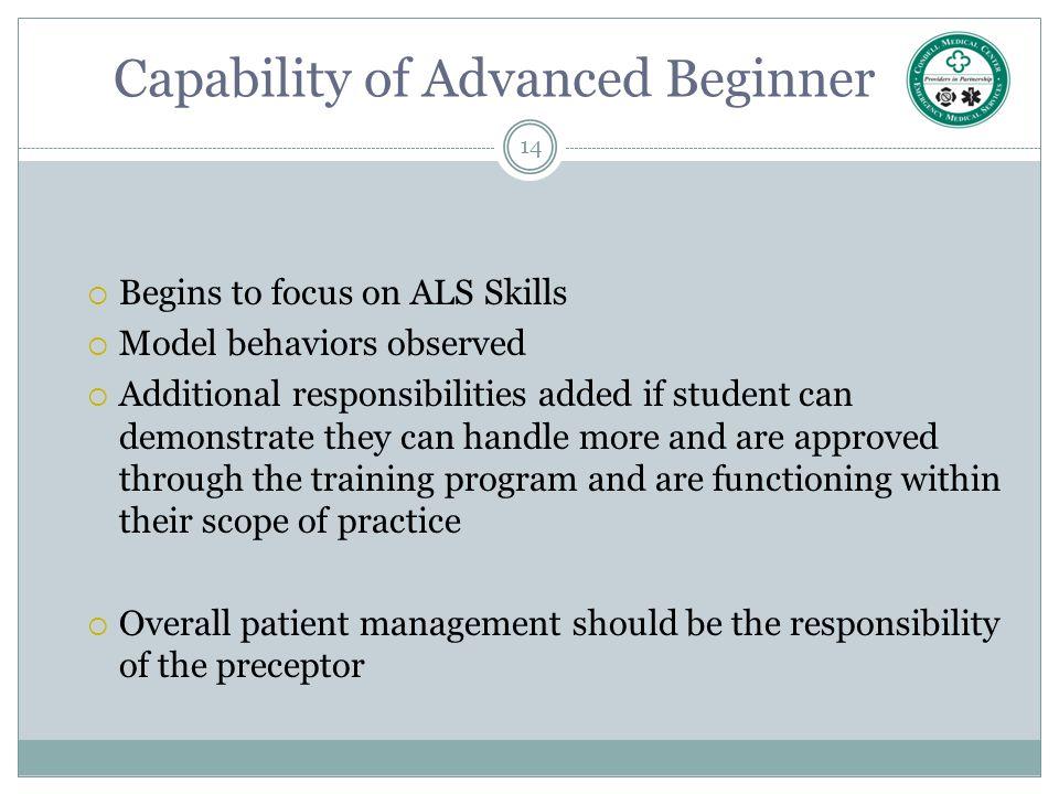 Capability of Advanced Beginner