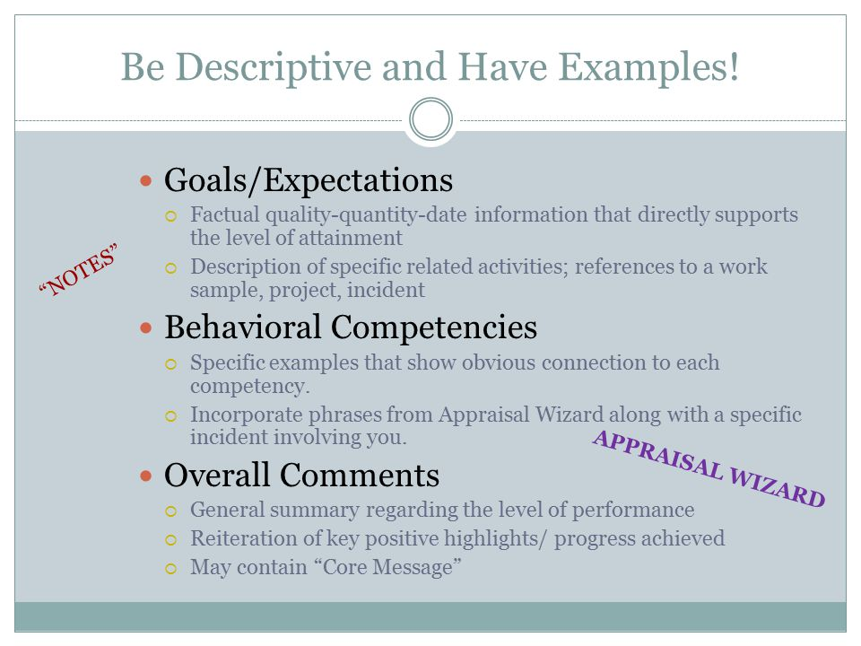 Be Descriptive and Have Examples!