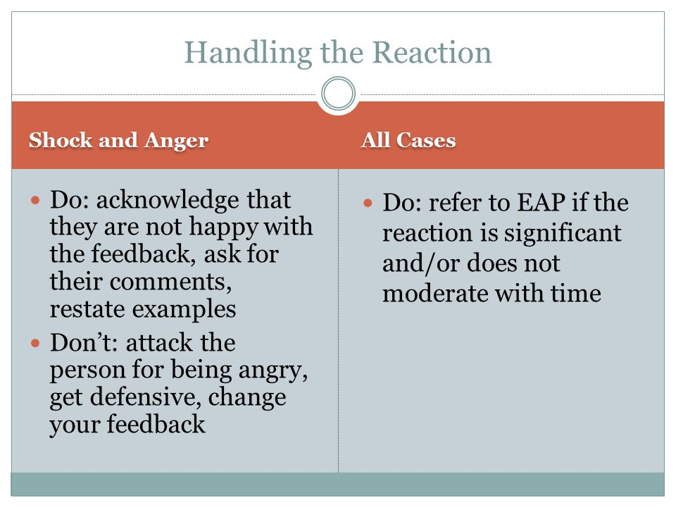 Handling the Reaction Shock and Anger. All Cases.