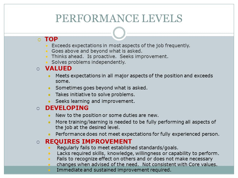 PERFORMANCE LEVELS TOP VALUED DEVELOPING REQUIRES IMPROVEMENT
