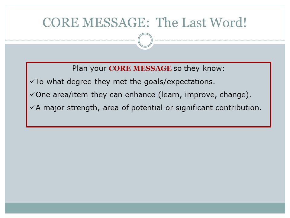 CORE MESSAGE: The Last Word!