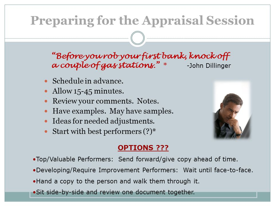 Preparing for the Appraisal Session