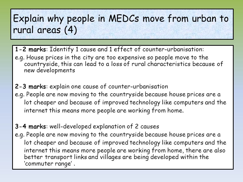 Explain why people in MEDCs move from urban to rural areas (4)