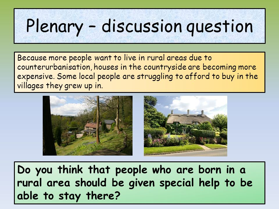 Plenary – discussion question