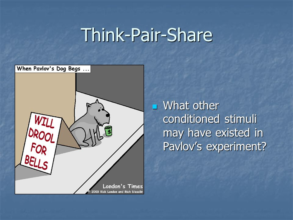 Think-Pair-Share What other conditioned stimuli may have existed in Pavlov's experiment