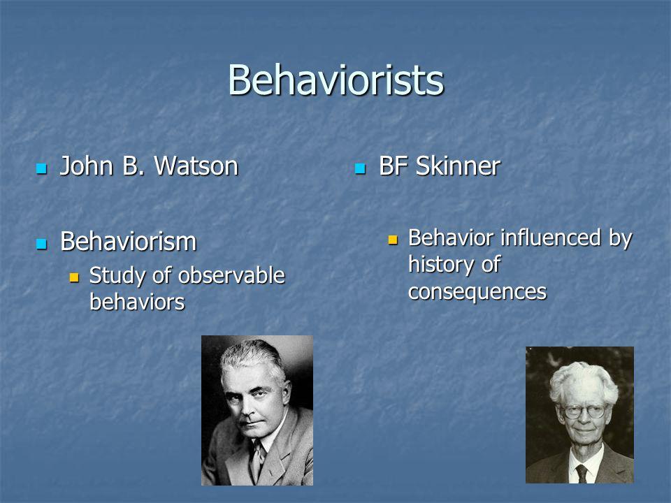 Behaviorists John B. Watson Behaviorism BF Skinner