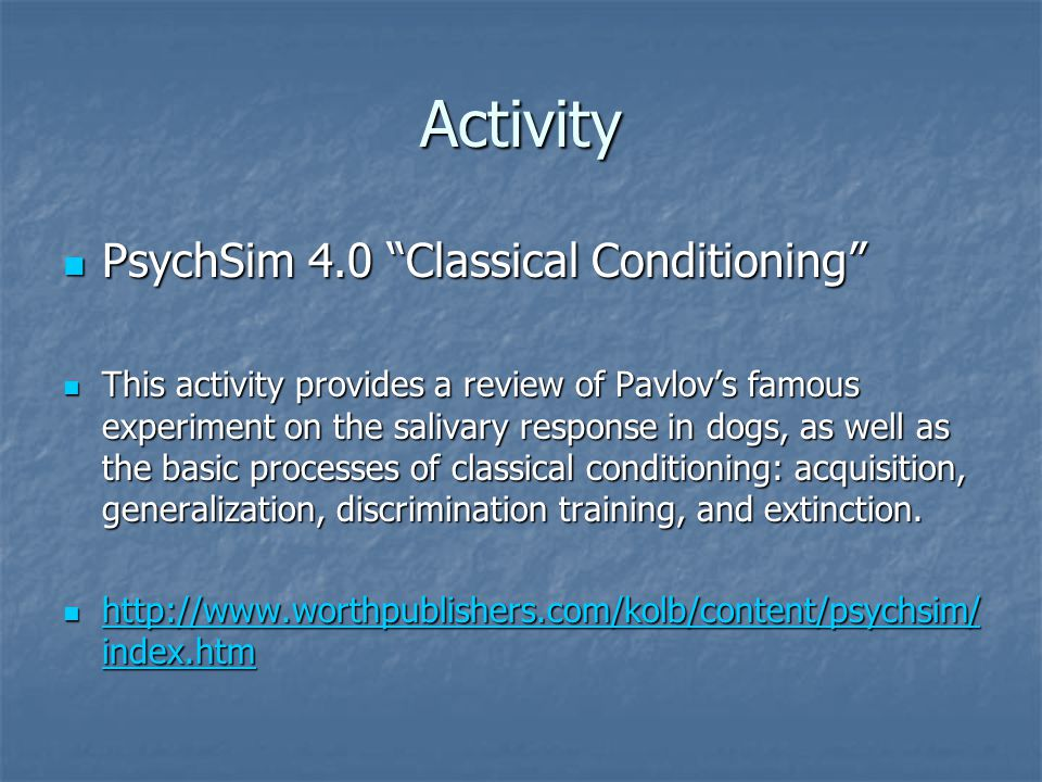 Activity PsychSim 4.0 Classical Conditioning
