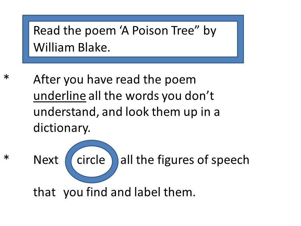 Read the poem 'A Poison Tree by. William Blake