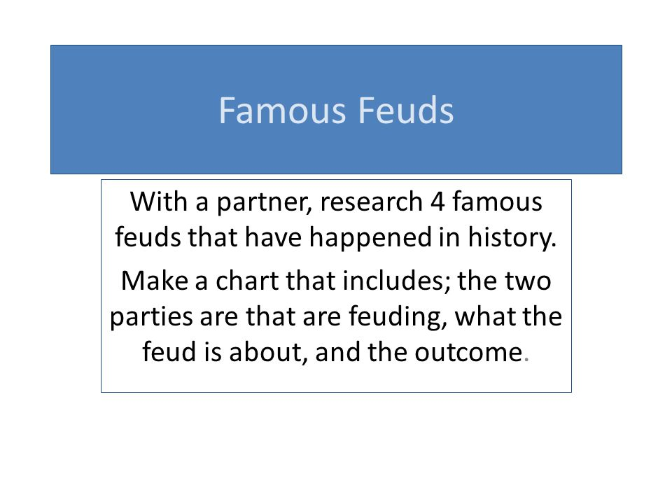 With a partner, research 4 famous feuds that have happened in history.