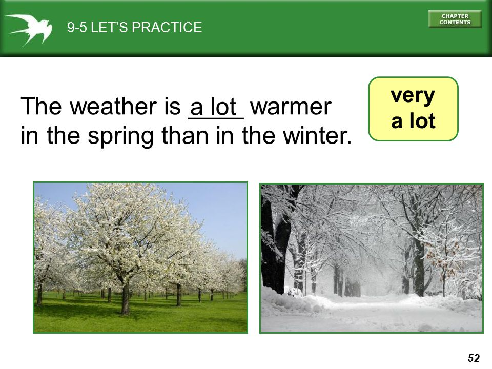 The weather is ____ warmer in the spring than in the winter. a lot