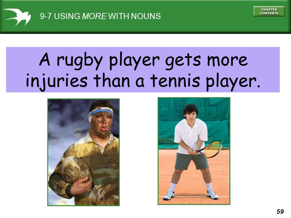 A rugby player gets more injuries than a tennis player.