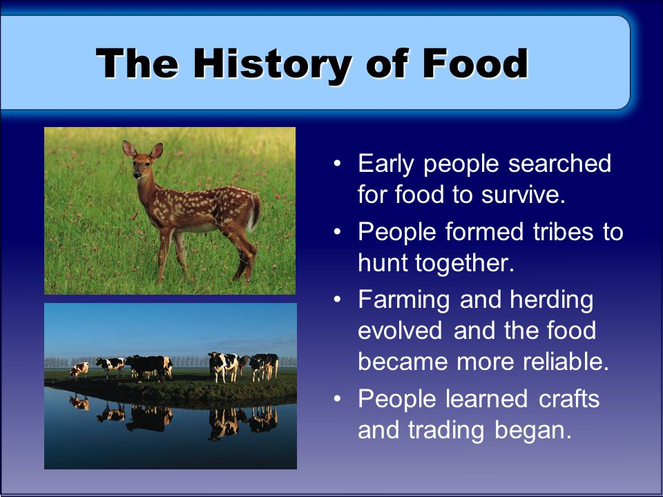 The History of Food Early people searched for food to survive.