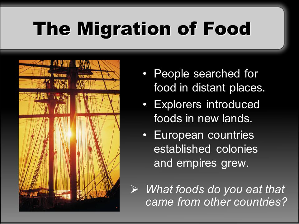 The Migration of Food People searched for food in distant places.