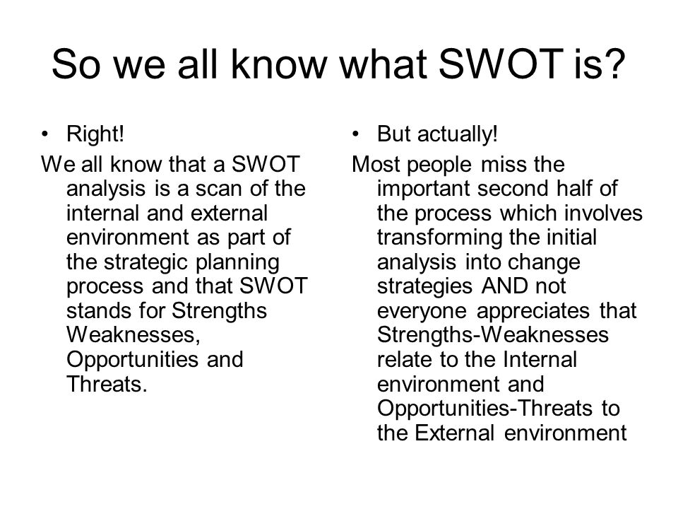 So we all know what SWOT is