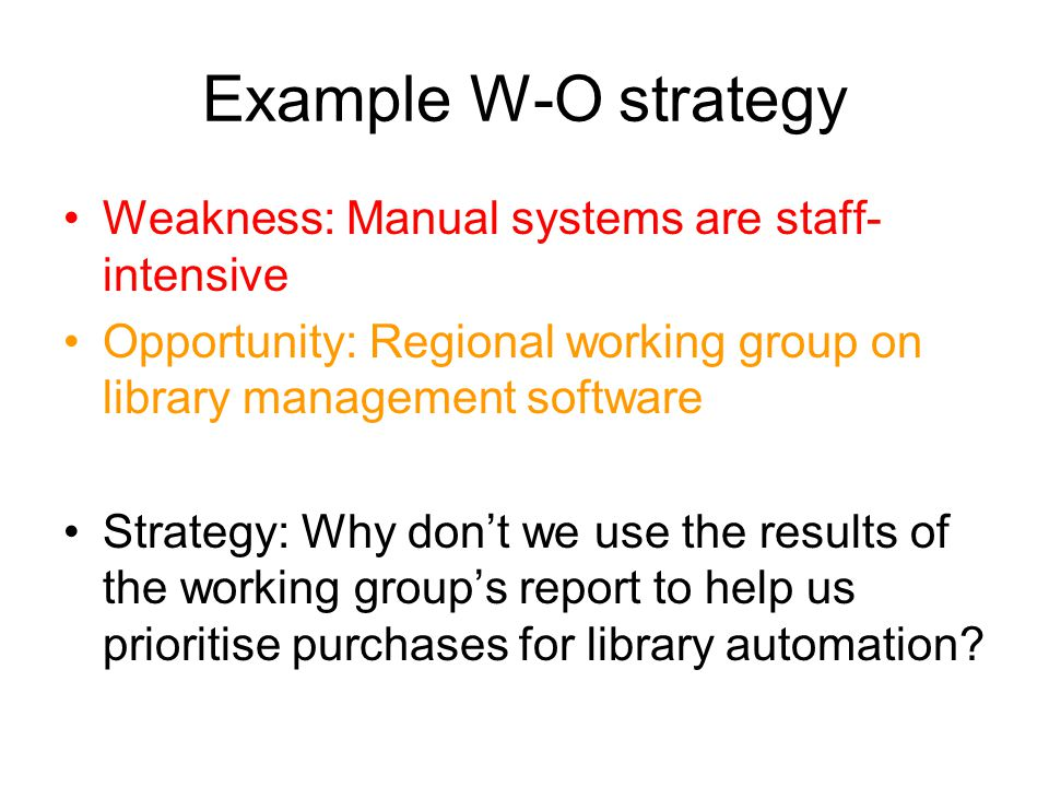 Example W-O strategy Weakness: Manual systems are staff-intensive