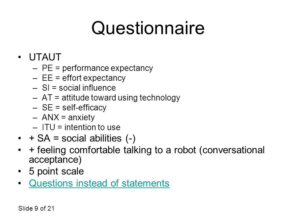 Questionnaire UTAUT + SA = social abilities (-)