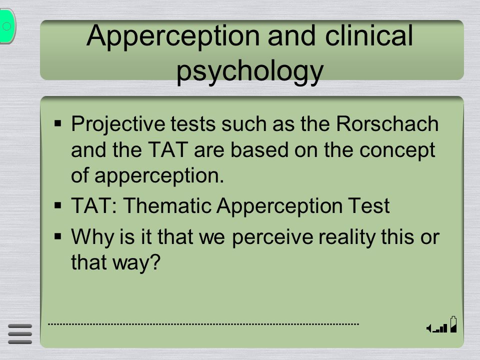 Apperception and clinical psychology