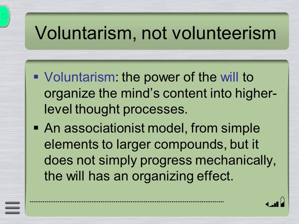 Voluntarism, not volunteerism