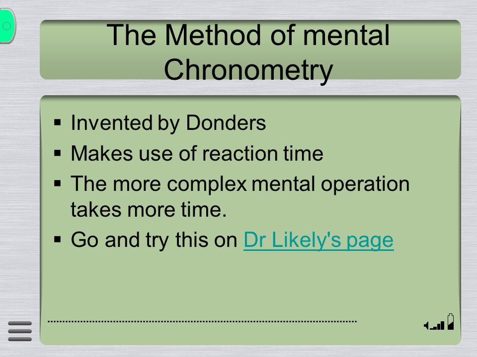 The Method of mental Chronometry