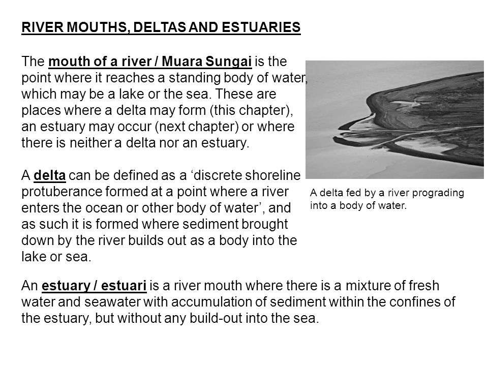 RIVER MOUTHS, DELTAS AND ESTUARIES