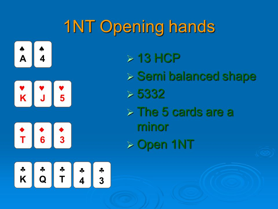1NT Opening hands 13 HCP Semi balanced shape 5332