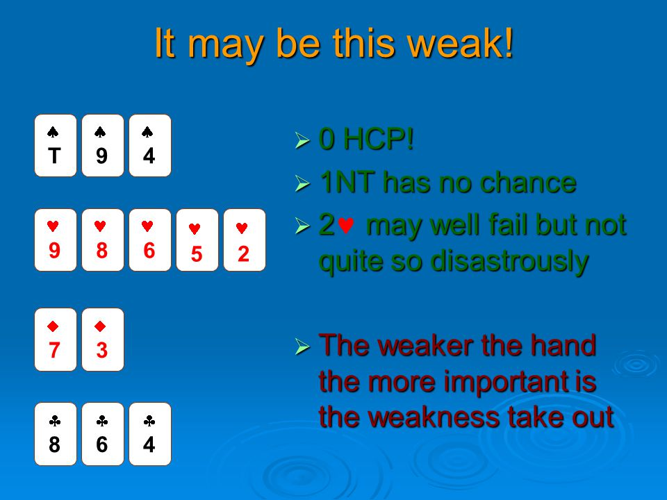 It may be this weak! 0 HCP! 1NT has no chance