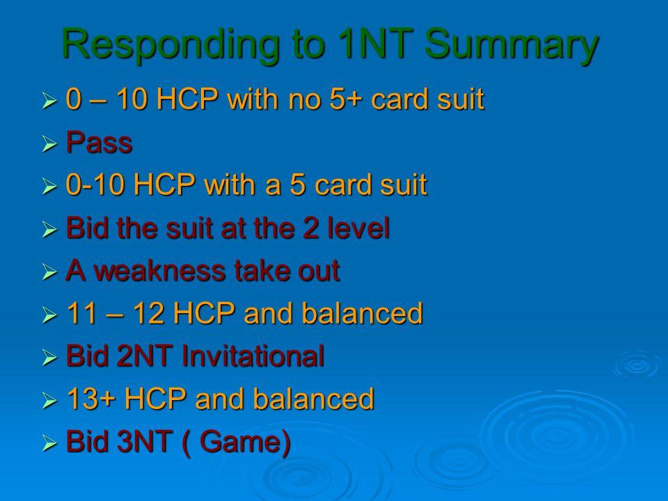 Responding to 1NT Summary