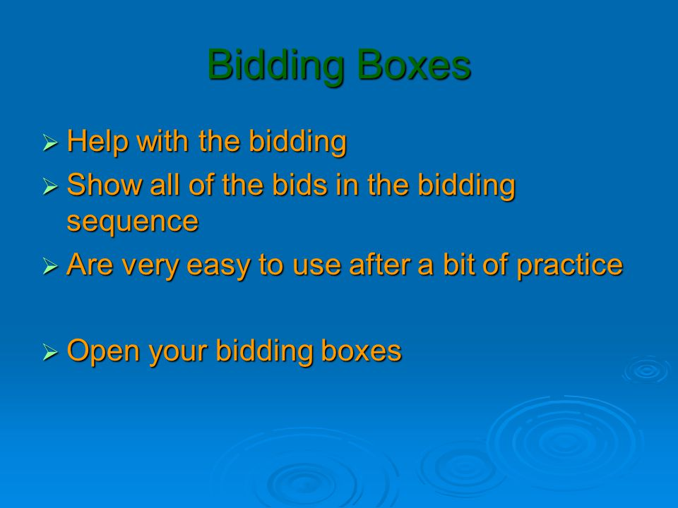 Bidding Boxes Help with the bidding