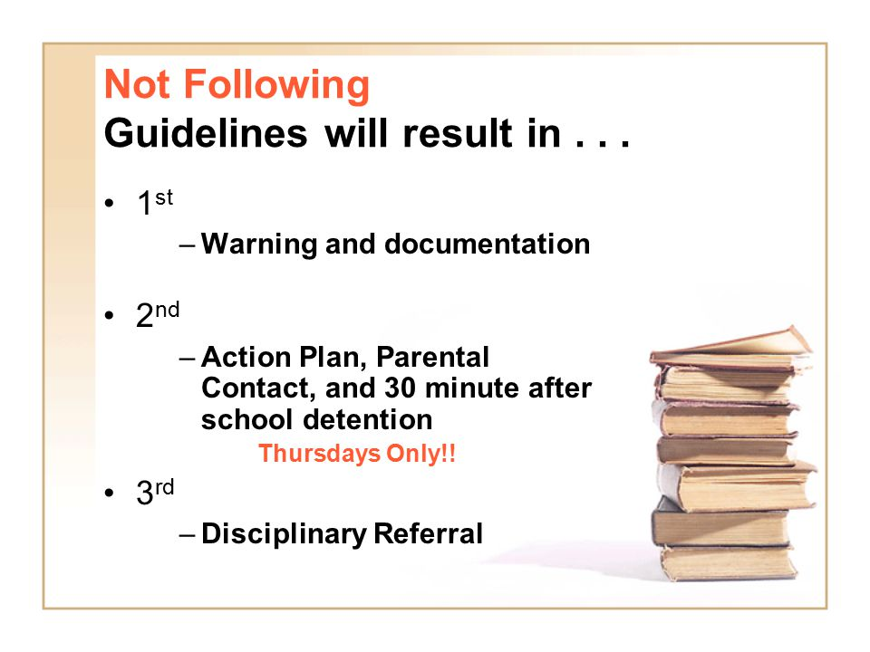 Not Following Guidelines will result in . . .