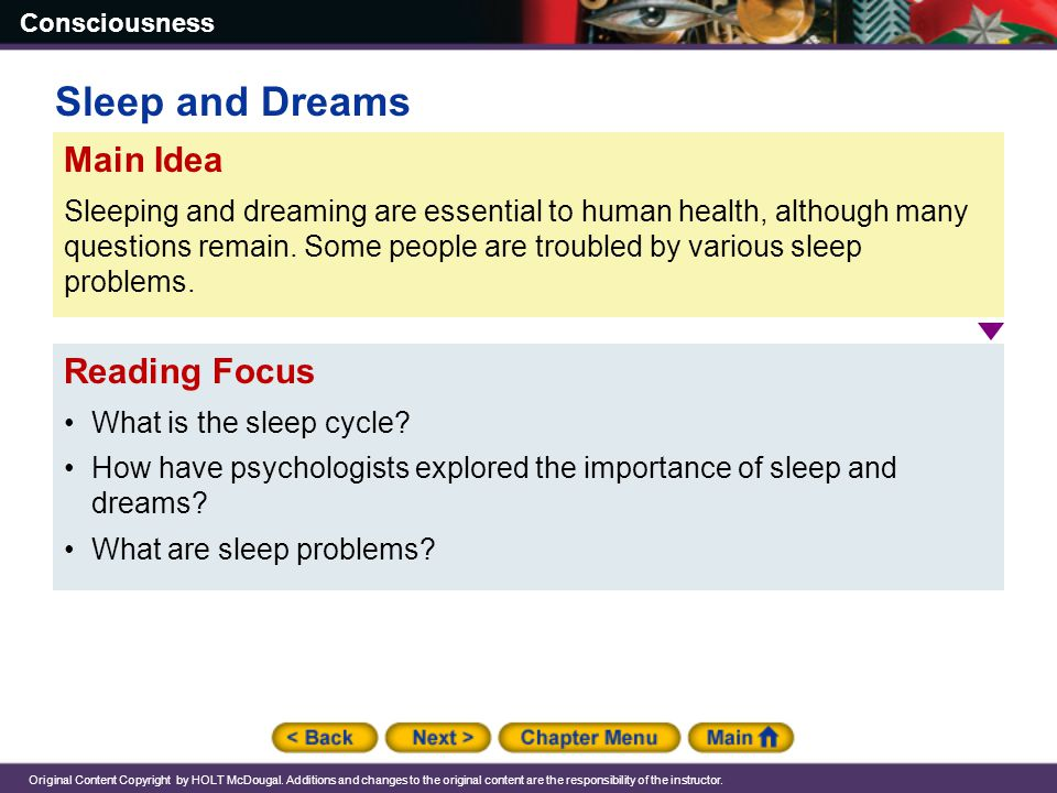 Sleep and Dreams Main Idea Reading Focus