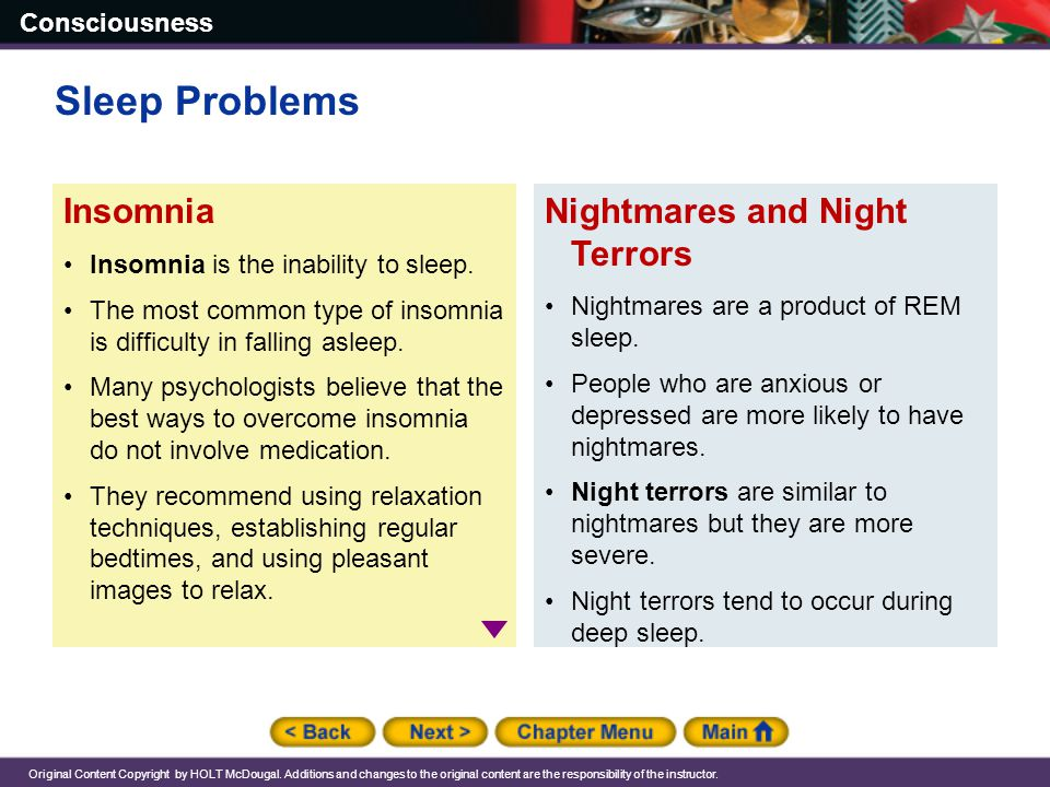 Sleep Problems Insomnia Nightmares and Night Terrors