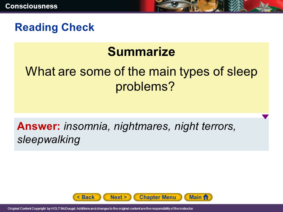 What are some of the main types of sleep problems