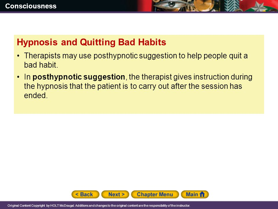 Hypnosis and Quitting Bad Habits