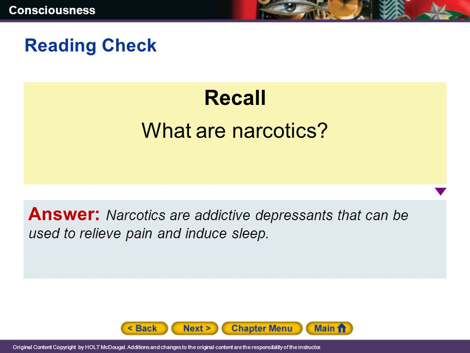 Recall What are narcotics Reading Check