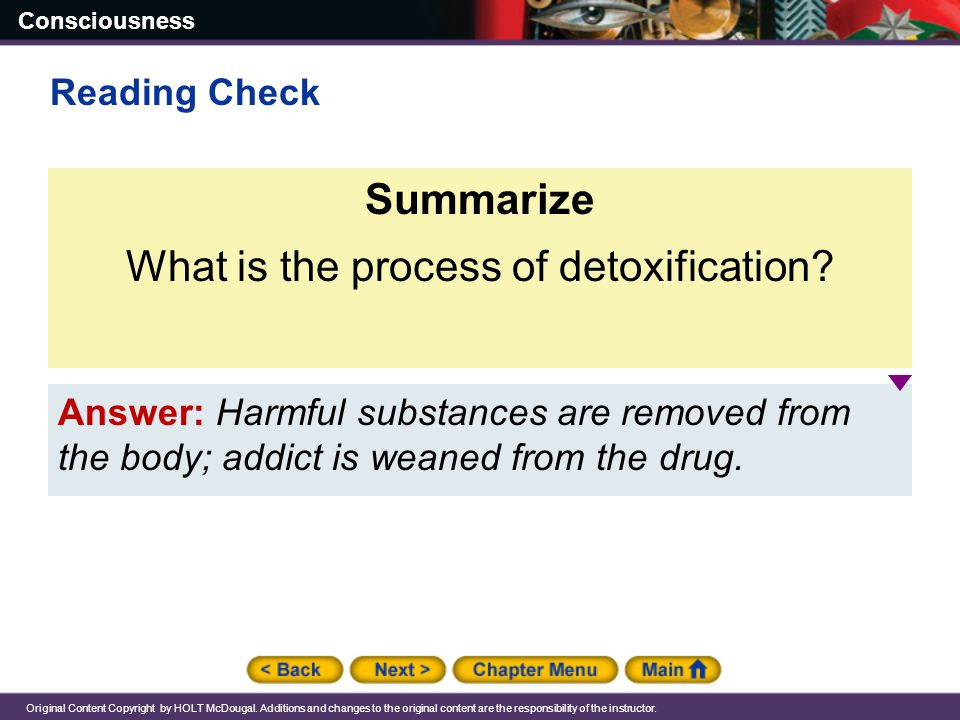 What is the process of detoxification