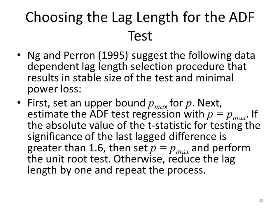 Choosing the Lag Length for the ADF Test