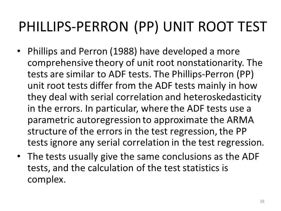 PHILLIPS-PERRON (PP) UNIT ROOT TEST
