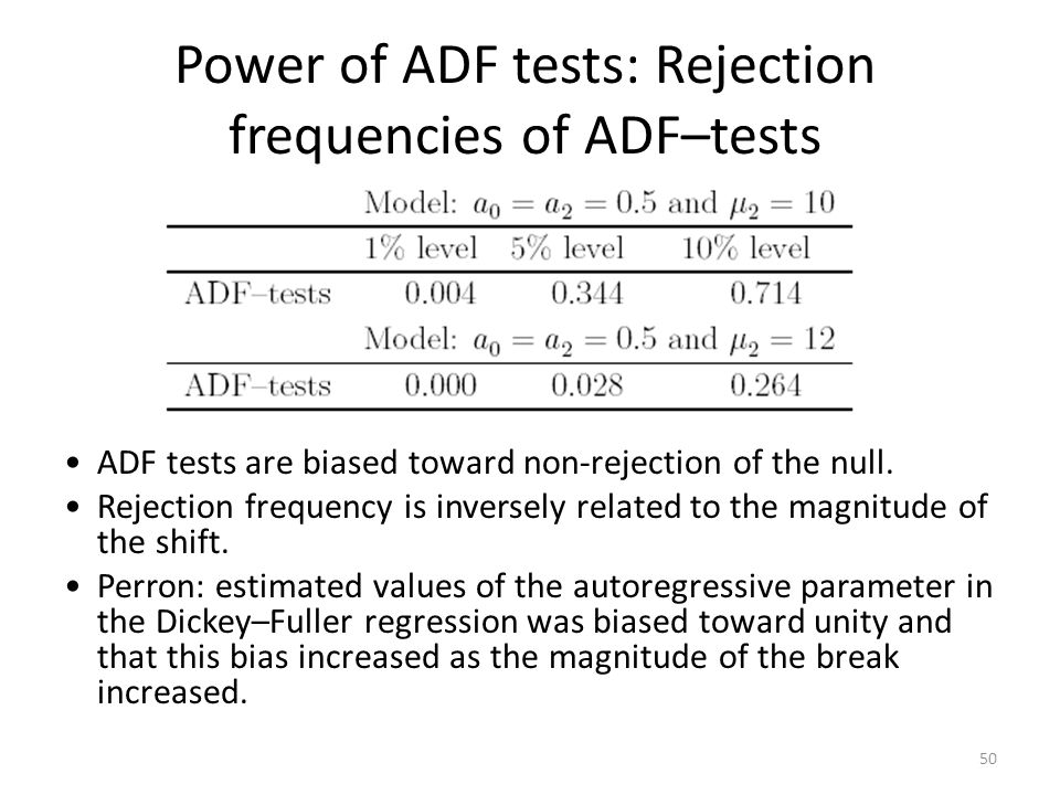 Power of ADF tests: Rejection frequencies of ADF–tests