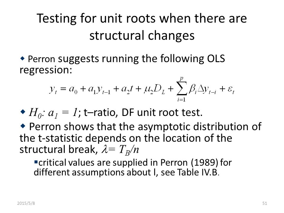 Testing for unit roots when there are structural changes