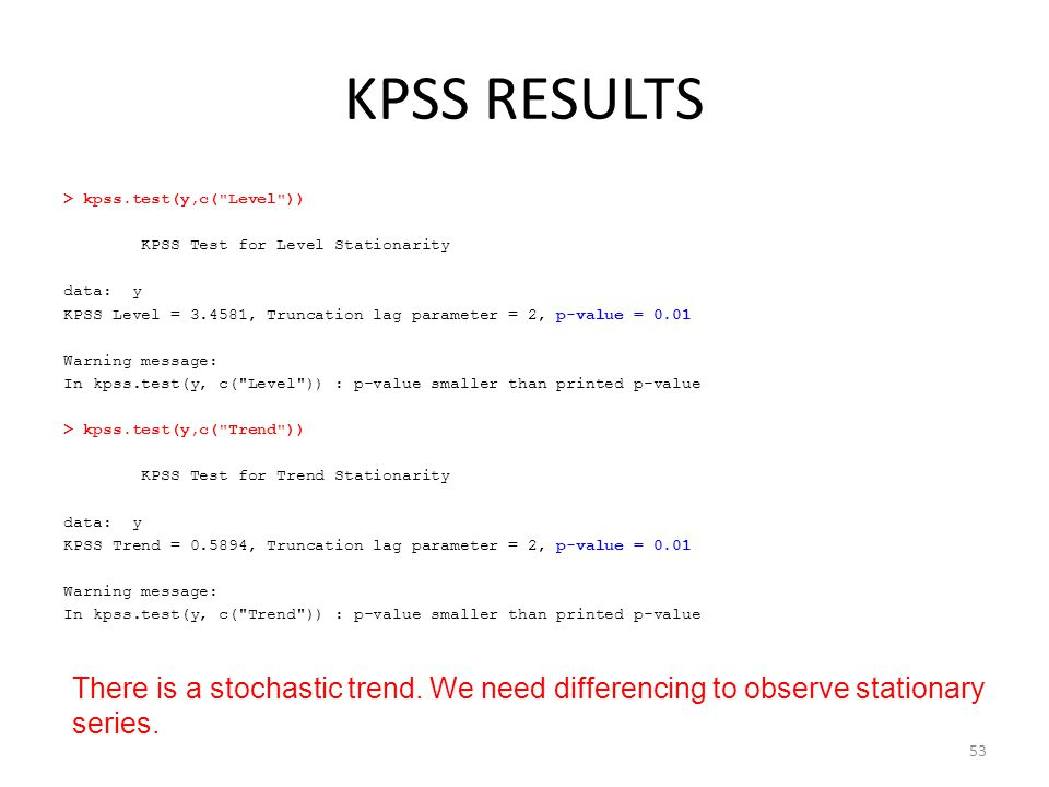 KPSS RESULTS