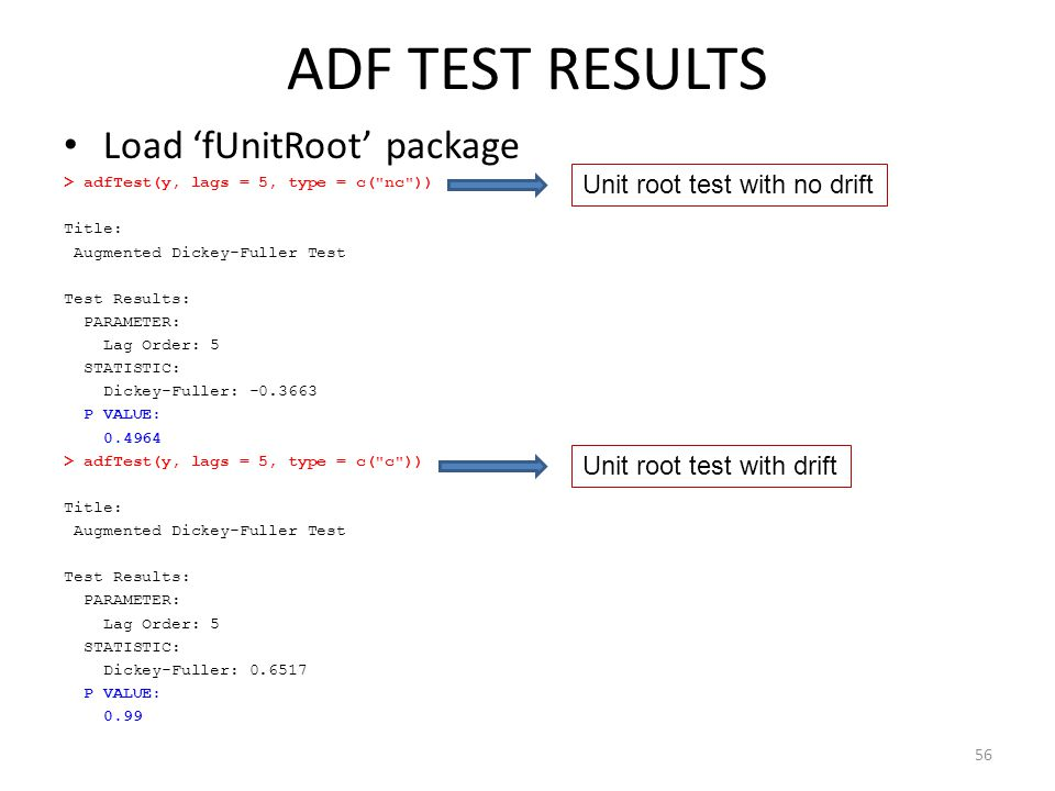 ADF TEST RESULTS Load 'fUnitRoot' package Unit root test with no drift